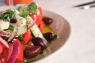 Greek salad made with Vrisi 36 balsamic vinegar