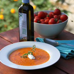 Fresh Tomato Soup with Bulgur and Vrisi 36 Oregano-Infused Olive Oil